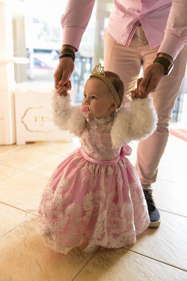 vestido festa um ano cor de rosa princesa duo cacao cascata de chocolate curitiba